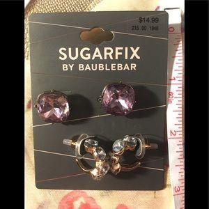 Purple blue 2 pair Bauble Bar earrings stud & hoop